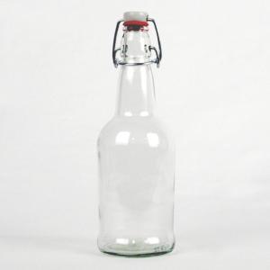 Clear glass swing-top bottle.