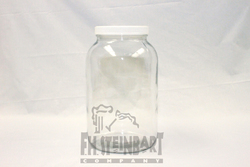 One gallon glass jar with plastic lid.