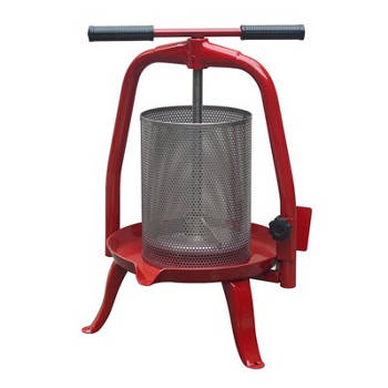 A red #20 yoke-style fruit press with stainless steel basket.
