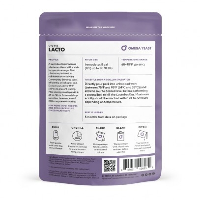 Omega Yeast Labs 605 Lacto Blend 150ml (Back)