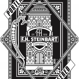 """The back image of the 2020 F.H. Steinbart t-shirt is black and white. It features an image of a lidded stein stylized to look like a castle. It says """"Keeping Portland Beered Since 1918."""""""