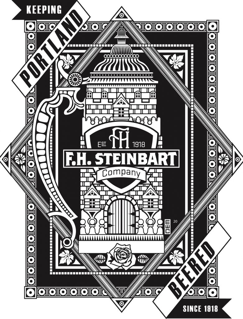 The back image of the 2020 F.H. Steinbart t-shirt is black and white. It features an image of a lidded stein stylized to look like a castle. It says