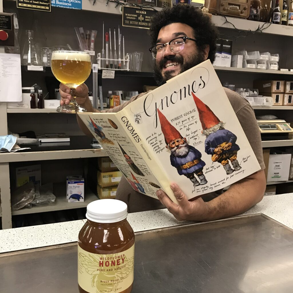 Bruce enjoys a chalice of Braggot Gold while reading about Gnomes